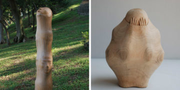 1 7 700x366 360x180 - Тайваньский художник создаёт пугающие скульптуры из дерева, в которых как будто застряли люди