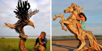 1 7 700x366 360x180 - Художник из Вашингтона создаёт скульптуры из сухих деревяшек, от которых дух захватывает